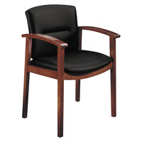 HON 5003NUR10 5000 Series Park Avenue Collection Black Fabric / Mahogany Wood Guest Chair