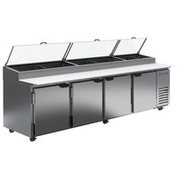 Beverage-Air DP119-CL 119 inch 4 Door Clear Lid Refrigerated Pizza Prep Table