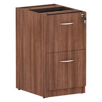 Alera ALEVA542822WA Valencia Modern Walnut 2 Box Drawer Full Pedestal File Cabinet - 15 5/8 inch x 20 1/2 inch x 28 1/2 inch