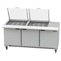 Beverage-Air SPE72HC-24M-CL Elite 72 inch 3 Door Mega Top Refrigerated Sandwich Prep Table
