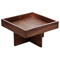 Playground 742890291000000 Ananti 7 3/4 inch Walnut Wood Square Tall Tray and Stand / Insert