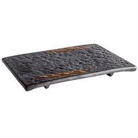 Playground 701211891000593 Lava 7 inch x 4 3/4 inch Rectangular Stoneware Platter - 6/Case