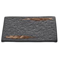 Playground 701212491000593 Lava 9 3/8 inch x 6 5/8 inch Rectangular Platter - 6/Case