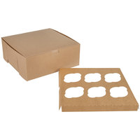 10 inch x 10 inch x 4 inch Kraft Cupcake / Muffin Box with 6 Slot Reversible Insert - 10/Pack