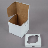 4 1/2 inch x 4 1/2 inch x 4 1/2 inch White Jumbo Cupcake / Muffin Box with 1 Slot Reversible Insert -10/Pack - 10/Pack