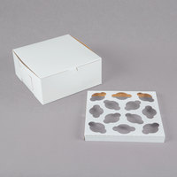 9 inch x 9 inch x 4 inch White Mini Cupcake / Muffin Box with 12 Slot Reversible Insert   - 10/Pack