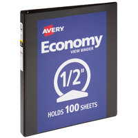Avery 05751 Black Economy View Binder with 1/2 inch Round Rings