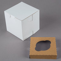 4 1/2 inch x 4 1/2 inch x 4 1/2 inch White Cupcake / Muffin Box with 1 Slot Reversible Insert - 10/Pack
