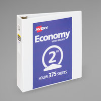 Avery 05780 White Economy View Binder with 2 inch Round Rings