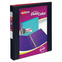 Avery 17216 Dual Color Black / Red Durable View Binder with 1 inch Slant Rings