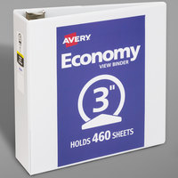 Avery 05800 White Economy View Binder with 3 inch Round Rings