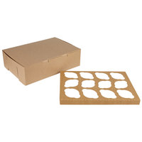14 inch x 10 inch x 4 inch Kraft Cupcake / Muffin Box with 12 Slot Reversible Insert - 10/Pack