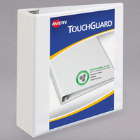 Avery 17144 TouchGuard Antimicrobial White Heavy-Duty View Binder with 3 inch Slant Rings