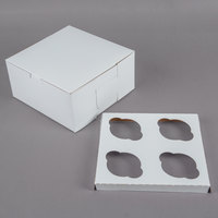 8 inch x 8 inch x 4 inch White Cupcake / Muffin Box with 4 Slot Reversible Insert   - 10/Pack