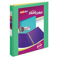 Avery 17217 Dual Color Green / Yellow Durable View Binder with 1 inch Slant Rings