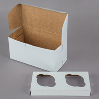 8 inch x 4 inch x 4 inch White Cupcake / Muffin Box with 2 Slot Reversible Insert - 10/Pack