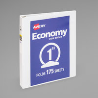 Avery 05760 White Economy View Binder with 1 inch Round Rings