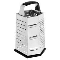 Choice 9 1/2 inch 6-Sided Stainless Steel Box Grater with Soft Grip