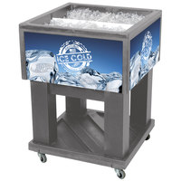 Gray Mini Texas Icer 5015 Insulated Ice Bin / Merchandiser 32 Qt. with Dividers and Drain 23 1/4 inch x 23 1/4 inch