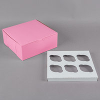 10 inch x 10 inch x 4 inch Pink Cupcake / Muffin Box with 6 Slot Reversible Insert - 10/Pack