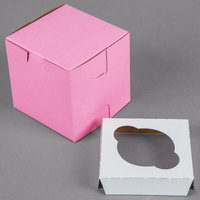 4 inch x 4 inch x 4 inch Pink Cupcake / Muffin Box with 1 Slot Reversible Insert - 10/Pack