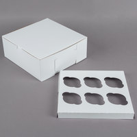 10 inch x 10 inch x 4 inch White Cupcake / Muffin Box with 6 Slot Reversible Insert - 10/Pack