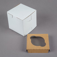 4 inch x 4 inch x 4 inch White Cupcake / Muffin Box with 1 Slot Reversible Insert - 10/Pack