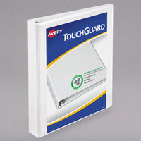 Avery 17141 TouchGuard Antimicrobial White Heavy-Duty View Binder with 1 inch Slant Rings