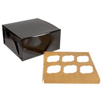Enjay 10 inch x 10 inch x 5 inch Black Cupcake / Muffin Box with 6 Slot Reversible Insert   - 10/Pack