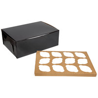 Enjay 14 inch x 10 inch x 5 inch Black Cupcake / Muffin Box with 12 Slot Reversible Insert - 10/Pack