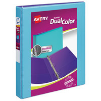 Avery 17215 Dual Color Aqua / Purple Durable View Binder with 1 inch Slant Rings