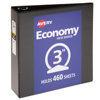 Avery 05891 Black Economy View Binder with 3 inch Round Rings