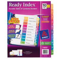 Avery 11072 Ready Index 10-Tab Multi-Color Paper Printable Customizable Table of Contents Divider Set - 3/Pack
