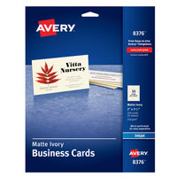 Avery 08376 2 inch x 3 1/2 inch Matte Ivory Micro Perforated Two-Sided Business Card - 250/Pack