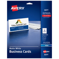 Avery 08371 2 inch x 3 1/2 inch Matte White Perforated Two-Sided Business Card - 250/Pack