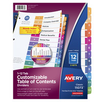 Avery 11073 Ready Index 12-Tab Multi-Color Paper Printable Customizable Table of Contents Divider Set - 3/Pack