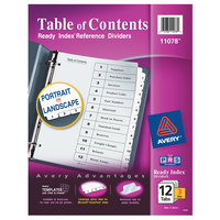 Avery 11078 Ready Index 12-Tab Black / White Paper Printable Customizable Table of Contents Divider Set - 3/Pack
