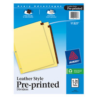 Avery 11327 31-Tab Buff Paper / Red Leather Preprinted Divider Set