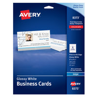 Avery 08373 2 inch x 3 1/2 inch Glossy White Matte Back Print-to-the-Edge Micro Perforated Two-Sided Business Card - 200/Pack