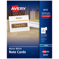 Avery 08315 4 1/4 inch x 5 1/2 inch Printable Matte White Two-Sided Note Card with Envelope - 60/Box