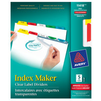 Avery 11418 Index Maker 5-Tab White / Multi-Color Punched Divider Set with Printable Clear Label Strip