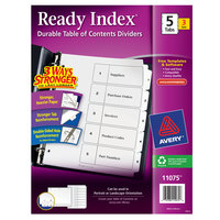 Avery 11075 Ready Index 5-Tab Black / White Paper Printable Customizable Table of Contents Divider Set - 3/Pack