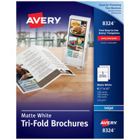 Avery 08324 11 inch x 8 1/2 inch Matte White Two-Sided Printable Tri-Fold Brochure - 100/Box