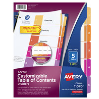 Avery 11070 Ready Index 5-Tab Multi-Color Paper Printable Customizable Table of Contents Divider Set - 3/Pack