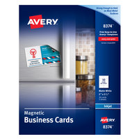 Avery 08374 2 inch x 3 1/2 inch Matte White Magnetic Perforated Business Card - 30/Pack