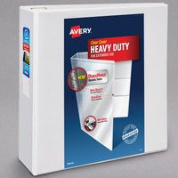 Avery 79704 White Heavy-Duty View Binder with 4 inch Locking One Touch Slant Rings