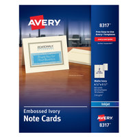 Avery 08317 4 1/4 inch x 5 1/2 inch Printable Matte Ivory Two-Sided Note Card with Envelope - 60/Box