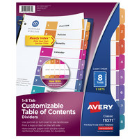 Avery 11071 Ready Index 8-Tab Multi-Color Paper Printable Customizable Table of Contents Divider Set - 3/Pack