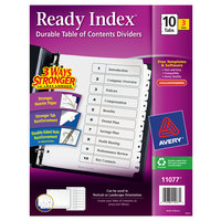 Avery 11077 Ready Index 10-Tab Black / White Paper Printable Customizable Table of Contents Divider Set - 3/Pack