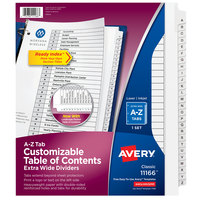 Avery 11166 Ready Index A-Z Tab Black / White Extra-Wide Paper Printable Customizable Table of Contents Divider Set